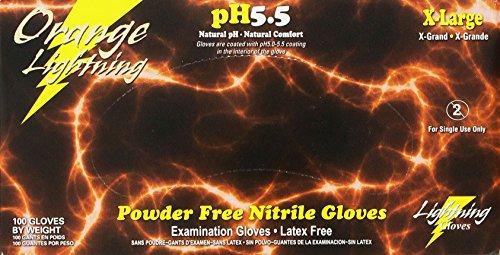 KBS Coatings OR-XL Orange Extra Large Lightning Nitrile Gloves, (Pack of 100)