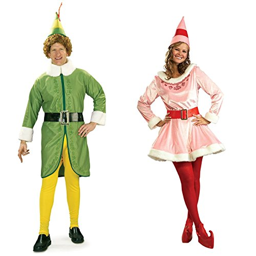 Buddy And Jovi Costumes (Buddy the Elf and Jovi Couples Costume Bundle Set)