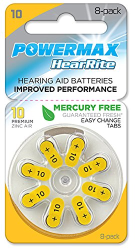 Powermax Size 10 Hearing Aid Batteries, Yellow Tab, Zinc Air Mercury-Free, HearRite, 64 Count by Powermax USA (Image #1)