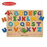 Melissa & Doug Alphabet Sound Puzzle - Wooden Peg Puzzle with Sound Effects (26 pcs)