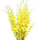Artificial Flowers, Kingfansion Simulation Oncidium Orchid Phalaenopsis Flowers For Wedding Decor Artificial yellow