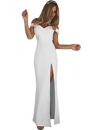 Minetom Donna Elegante Collo V Senza Maniche Vestito Lungo Casual Dolce  Senza Spalline Tinta Unita Maxi Abito Da Sera Cocktail Dress  Amazon.it  ... 2dad39dc132