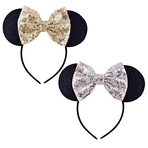 DRESHOW Mickey Ears Headbands Sequin Hair Band Accessories for Women Girls Cosplay Party -