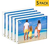 MeetU Acrylic 4x6 Picture Frame Two Sided Desk Photo Frame Magnetic Frame Inner