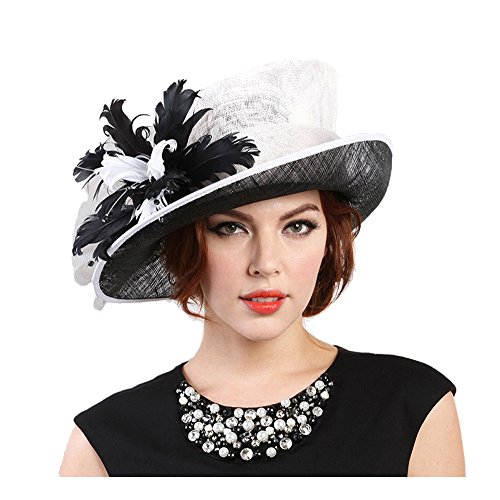 Womens Fashion Derby (Beatnix Fashions Kentucky Derby Black White Feather Side Brim Sinamay Hat)