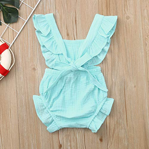 e3c424750191d WOCACHI Toddler Baby Girls Clothes, Newborn Infant Baby Girls Color Solid  Ruffles Backcross Romper Bodysuit Outfits Sundress Mom Daughter Son  Coverall ...