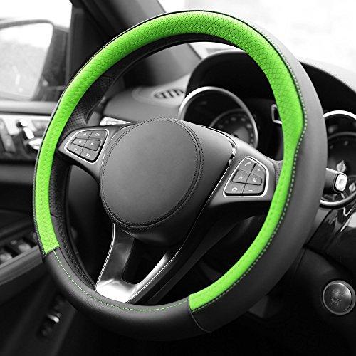 FH Group FH2009GREEN Geometric Chic Genuine Leather Steering Wheel Cover, 1 Pack (Steering Ferrari Wheel F430)
