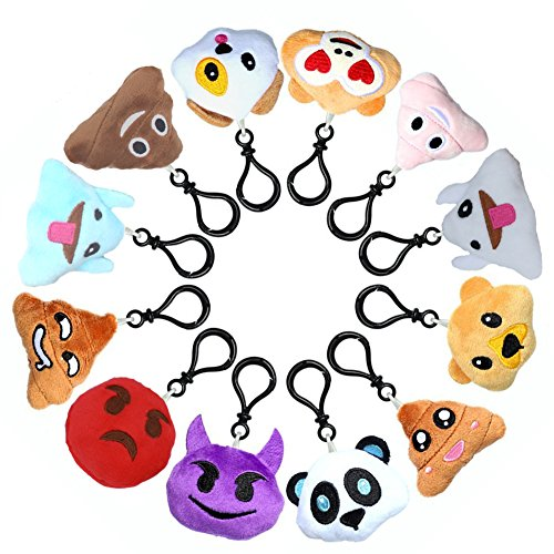 Emoji Mini Pillow Kids Birthday Party Supplies Favor for Girl & Boy, Cute Poop Keychain Plush Set, 1 Kit Stuffed Animal Emoticon Key Chain Pendant, Backpack Clip Funny Toy for Student (12 Pack 2 Inch)