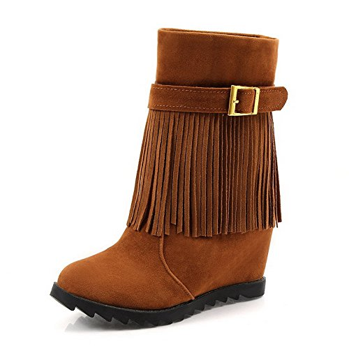 AmoonyFashion Womens Round Closed Toe Low-Top High-Heels Solid Imitated Suede Boots Camel jfGsr7mvK