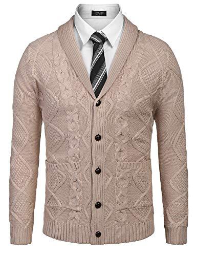 (COOFANDY Mens Casual Knitted Merino Wool Aran Sweater Shawl Collar Button Down Cardigan Sweater,Light Khaki,Small)