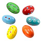 Elisona-6 PCS 10 x 6cm Colorful Baby Kids Wooden Musical Percussion Egg Shakers Maracas Toy for 0-3 Year Old Random Color