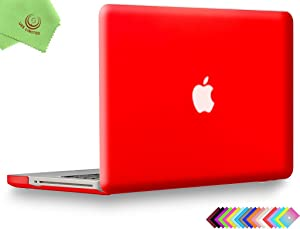 UESWILL Smooth Soft-Touch Matte Hard Shell Case Cover for MacBook Pro 15 inch with CD-ROM (Non-Retina) (Model A1286) + Microfibre Cleaning Cloth, Red