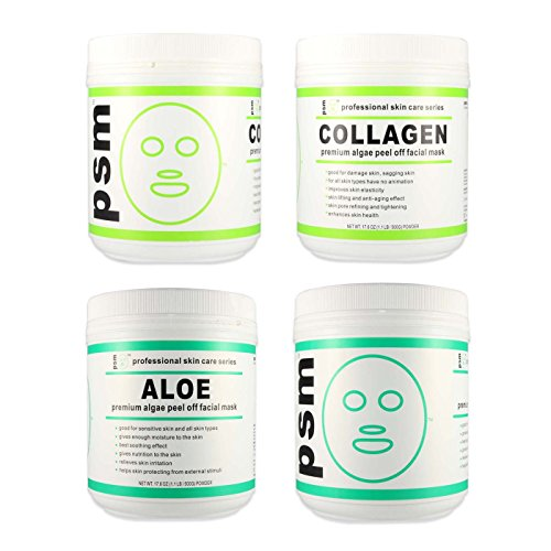 (Set of 4) 2 COLLAGEN, 2 ALOE psm Premium Algae Peel Off Facial Mask Powder 17.6 OZ (1.1LB / 500g EA)