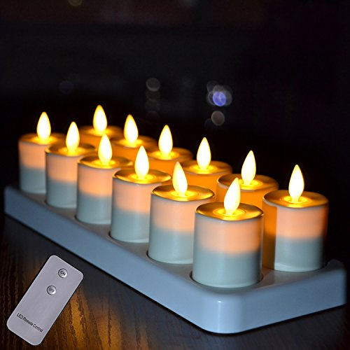 Rechargeable LED Tealight Votives Candles with Moving Flame Wick and Remote Control, Set of 12