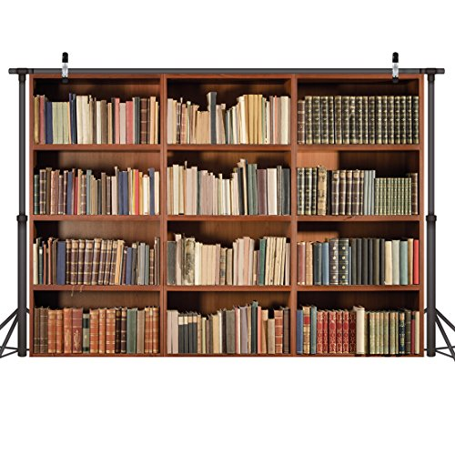 LYWYGG 7X5FT Bookshelf Backdrop Vintage Bookcase Magic Books Grunge Ancient Library Vinyl Photography Background Photo Studio Props CP-49 ()