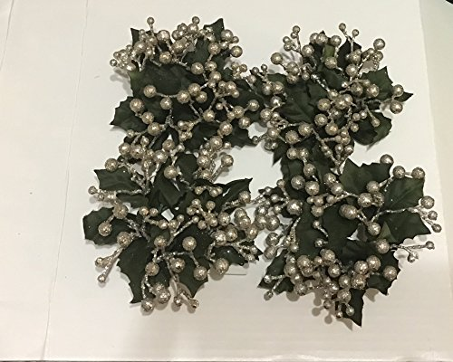 """Taper Candle Garland Berries Circle With Holly Champagne 4"""" Set of Four (4) by Vintage"""