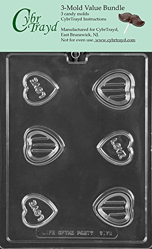 CybrTrayd V176 Small Love Heart Pour Box Chocolate Candy Mold, 3-Pack, Clear (Box Heart Pour)