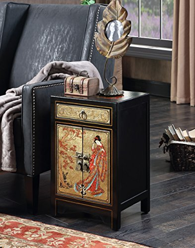 Convenience Concepts Touch of Asia 1-Drawer Cabinet End Table, Black/Gold (Coffee Hand Painted Console)