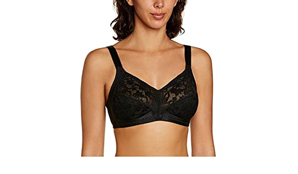 Triumph Delicate Doreen N Non Wired Full Cup Supportive Soft Lace Bra Black US46E at Amazon Womens Clothing store:
