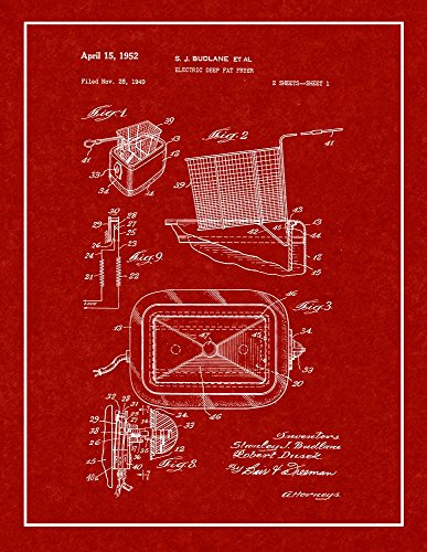 Electric Deep Fat Fryer Patent Print Burgundy Red with Border (5