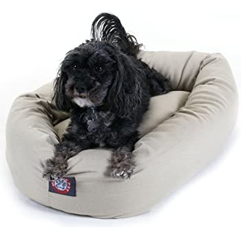 Amazon.com : 24 inch Chocolate Suede Bagel Dog Bed By