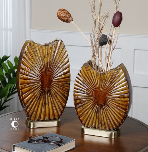 Uttermost Zarina Marbled Ceramic Vases S/2 with Marbled Ceramic In Multiple Tones Of Brown