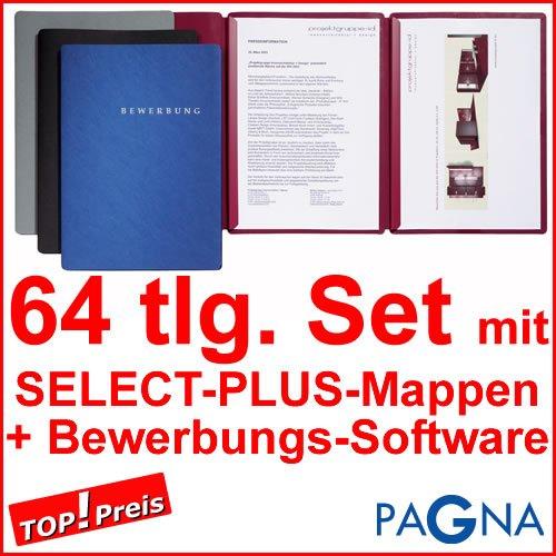 20 dreiteilige Bewerbungsmappen BLAU + 20 DIN B4 Versandtaschen + 20 Adressetiketten + Etikettenvorlage + Bewerbungssoftware + Extras