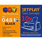 10 Black T0481 Ink 10 High Capacity Compatible Ink Cartridges for Epson Stylus Photo R200 R220 R300 R300M R320 R325 R340 R350 RX500 RX600 RX620 RX640 inkjet printers