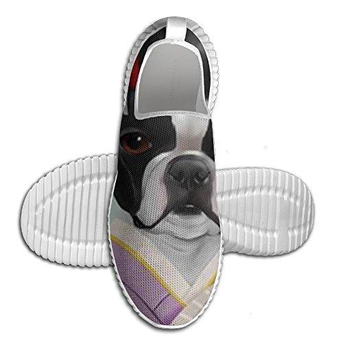Boston Bulldog Escursionismo Scarpe Da Corsa Stampa Unisex Stringate Tennis Trainer Per Ragazzi Bianchi