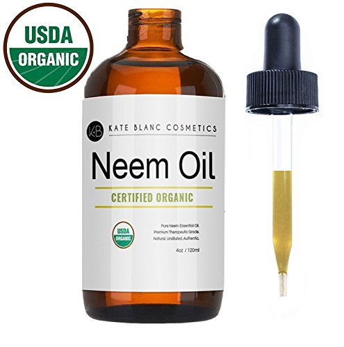Neem Oil (4oz) by Kate Blanc. USDA Certified Organic, Virgin, Cold Pressed, 100% Pure. Great for Hair, Skin, Nails. Natural Anti Aging Moisturizer. 1-Year Guarantee ()
