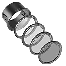 Neewer® for DJI Phantom 3 Professional, Advanced and Standard 37MM Filter Kit: UV Filter + Polarizing Filter + ND4 Filter + ND8 Filter + Snap-on Adapter Ring + Filter Pouch