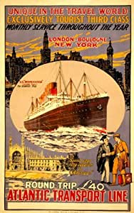 1920 Vintage poster cruise ship New York to London