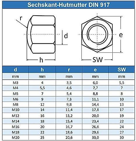 Eisenwaren2000 Edelstahl A2 V2A rostfrei 100 St/ück M8 Sechskant-Hutmuttern niedr - DIN 917 Form