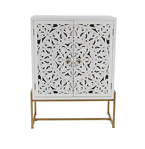 Deco 79 45845 Square Traditional Style Carved Wood White Cabinet on Metallic Gold Iron Stand, 31