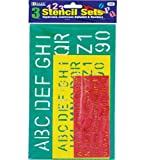 BAZIC 10, 17, 27mm Size Lettering Stencil Sets (3/Pk), Case Pack of 144