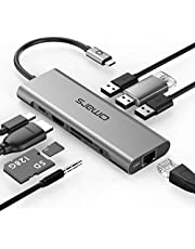 USB C Hub Adapter Omars 9 in 1 Type C Docking Station Hub with USB C Power Delivery, 4K HDMI, 1000Mbps Ethernet LAN Port, 3,5mm Aux, 3X USB 3.0, TF/SD Card Reader for MacBook and More USB C Devices