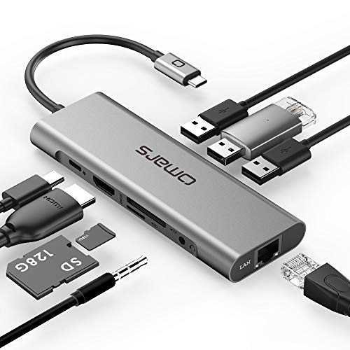 USB C Hub Adapter Omars 9 in 1 Type C Adapter Docking Station Hub with USB C to HDMI 4K HDMI,1000Mbps Ethernet LAN Port, 3,5mm Aux, 3X USB 3.0, TF/SD Card Reader for MacBook and More USB C Devices