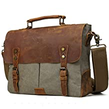 TIDING Men Retro Canvas Leather 14 Inch Laptop Vintage Messenger Bag Satchel Briefcase Cross Body Shoulder Bag