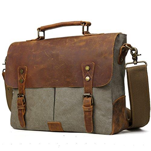 Tiding Men Vintage Canvas Leather 14 Inch Laptop Messenger Bag Computer Satchel Shoulder Briefcase Crossbody Tote Bag Dark (Canvas Flap Pocket Messenger Bag)