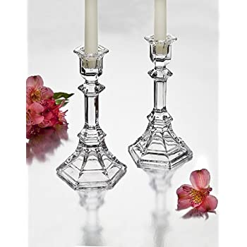 StudioSilversmiths 43998 Octagon Flare Crystal Candlesticks - Set Of 2