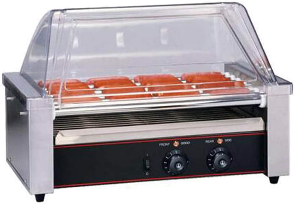CGOLDENWALL Hotdog Roller Machine Sausage Grill Cooker Machine Hot Dog Machine Stainless Steel Non Stick Electric Hotdogs Grilling Cooker Appliances (9 Roller with Cover)