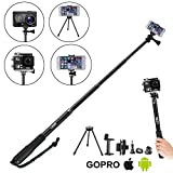 LEBE Adjustable 8-in-1 Selfie Stick with Tripod for Gopro Hero 5 4 3 3+ 2 1,3.6ft Waterproof selfie stick for Phone,SLR Camera Telescoping Monopod with Mount Adapter and Gopro Remote Housing Gifted