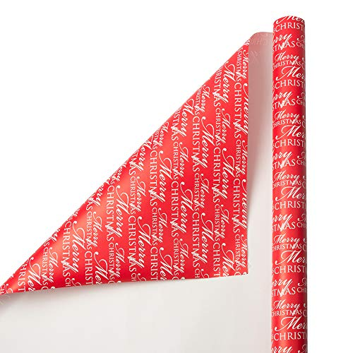 JAM PAPER Gift Wrap – Christmas Wrapping Paper – 25 Sq Ft – Red Merry Christmas Script – Roll Sold Individually