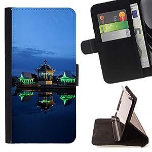 LG Magna / G4C / H525N H522Y H520N H502F H500F (G4 MINI,NOT FOR LG G4)Case , Verde Luces Arquitectura Noche- la tarjeta de Crédito Slots PU Funda de cuero Monedero caso cubierta de piel