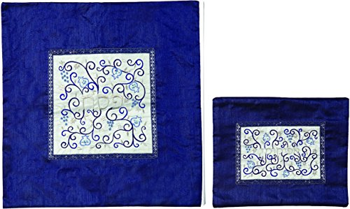 - Matzah Cover For Matzah Shmurah Bread Plate Or Tray - Yair Emanuel EMBROIDERED MATZAH COVER SET POMEGRANATES WHITE ON BLUE (Bundle)