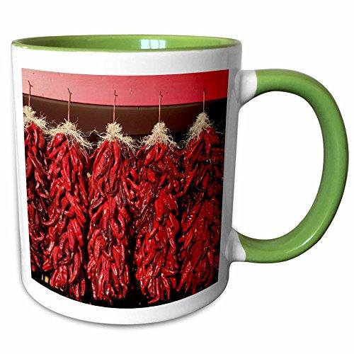 3dRose Danita Delimont - Peppers - Chili peppers drying in the sun, Velarde, New Mexico, USA. - 15oz Two-Tone Green Mug (mug_208254_12)