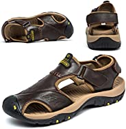 BINSHUN Sandals for Men Sports Hiking Shoes Leather Fisherman Athletics Shoe Beach Adustable Water Sandal