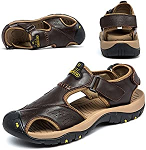 cdb6a995a5ef ENTER BINSHUN Sandals for Men Leather Hiking Sandals Athletic Walking  Sports Fisherman Beach Shoes Closed Toe Water Sandals Deep Brown imgproduct