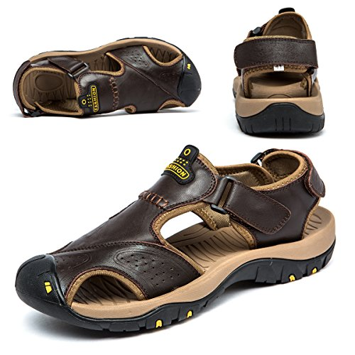 BINSHUN Sandals for Men Leather Hiking Sandals Athletic Walking Sports Fisherman Beach Shoes Closed Toe Water Sandals Deep Brown