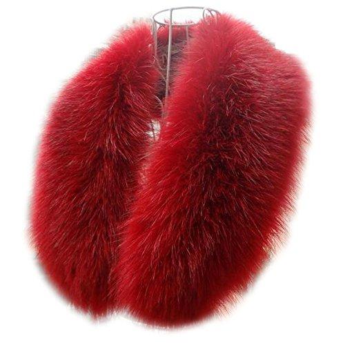 - Joyci Lady's Faux Fox Fur Neck Collar Fluffy Scarf Shawl Collar Warp Stole (Red)